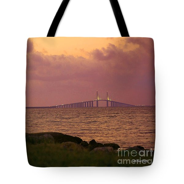 Tote Bag featuring the photograph Sunshine Skyway Bridge by Terri Mills