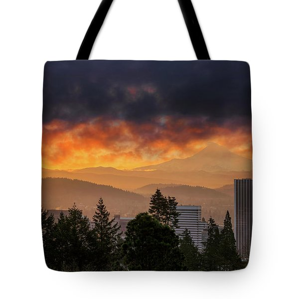 Sunsrise Over City Of Portland And Mount Hood Tote Bag by David Gn