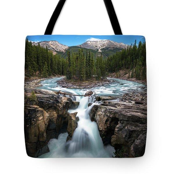 Sunwapta Falls In Jasper National Park Tote Bag