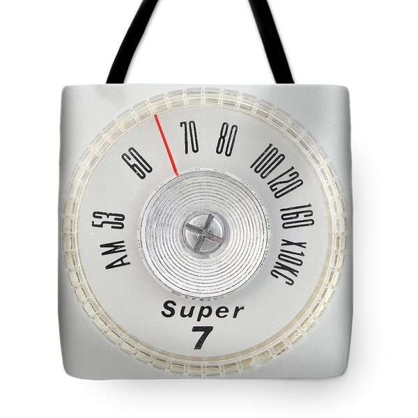 Super 7 Portable Radio Dial Tote Bag by Jim Hughes