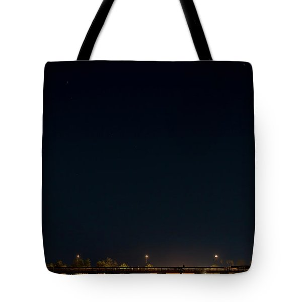 Super Blood Moon Over Ventura, California Pier Tote Bag