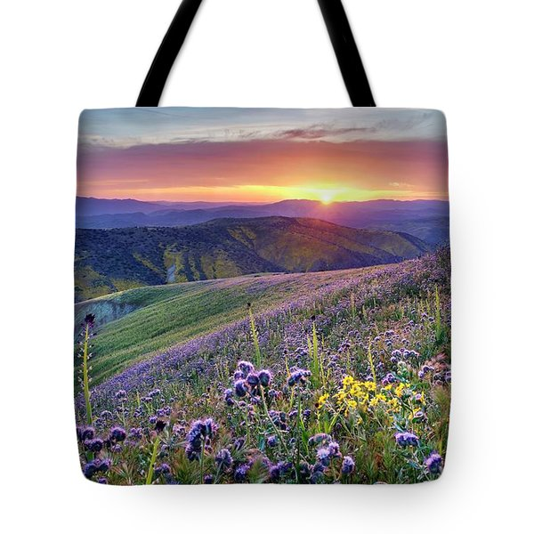 Tote Bag featuring the photograph Super Bloom In California Desert by Peter Thoeny