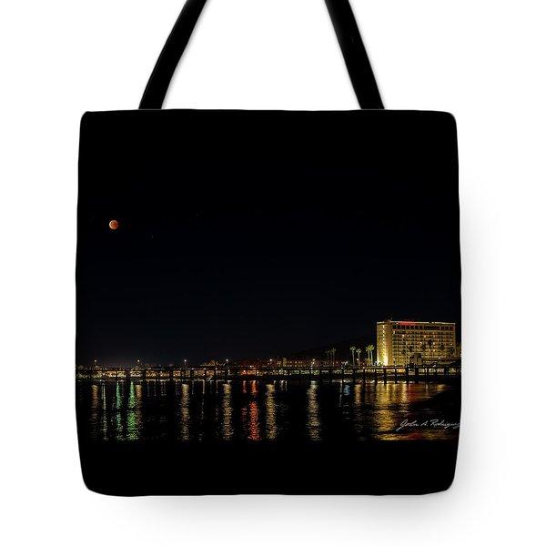Super Blue Blood Moon Over Ventura, California Pier  Tote Bag