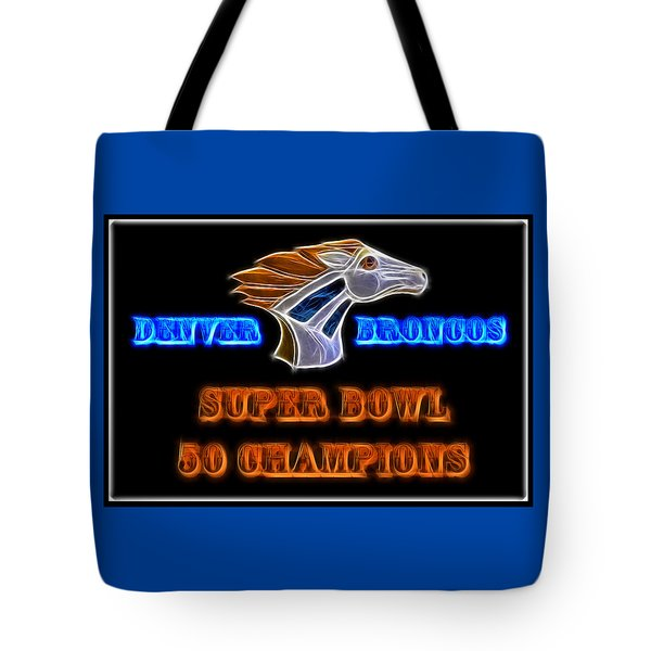 Tote Bag featuring the photograph Super Bowl 50 Champions by Shane Bechler