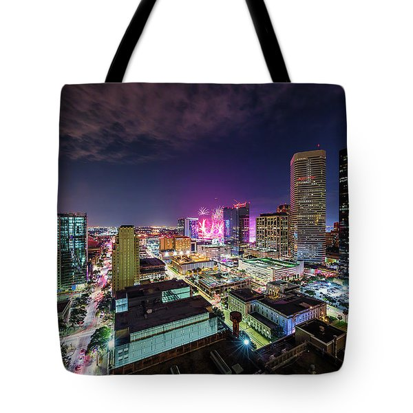 Super Bowl Li Down Town Houston Fireworks Tote Bag by Micah Goff