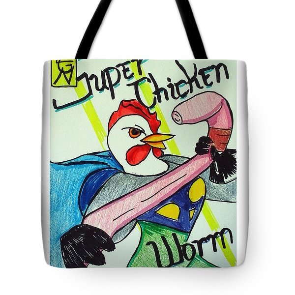 Super Chicken Vs Worm Tote Bag
