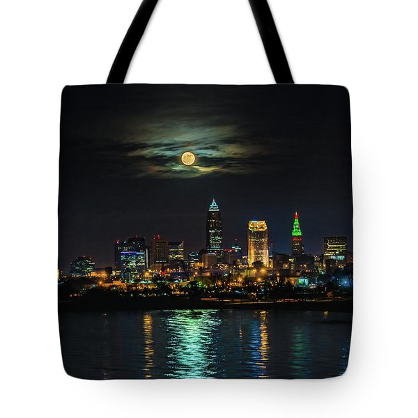 Super Full Moon Over Cleveland Tote Bag