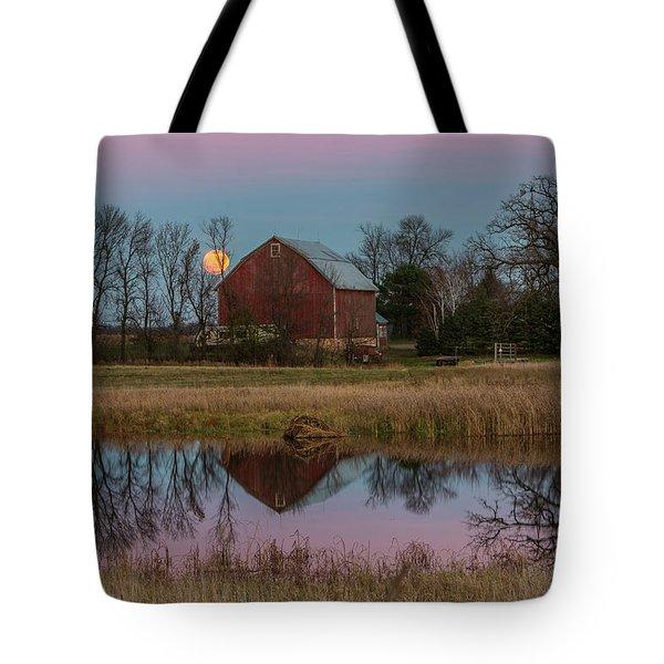 Super Moon And Barn Series #1 Tote Bag