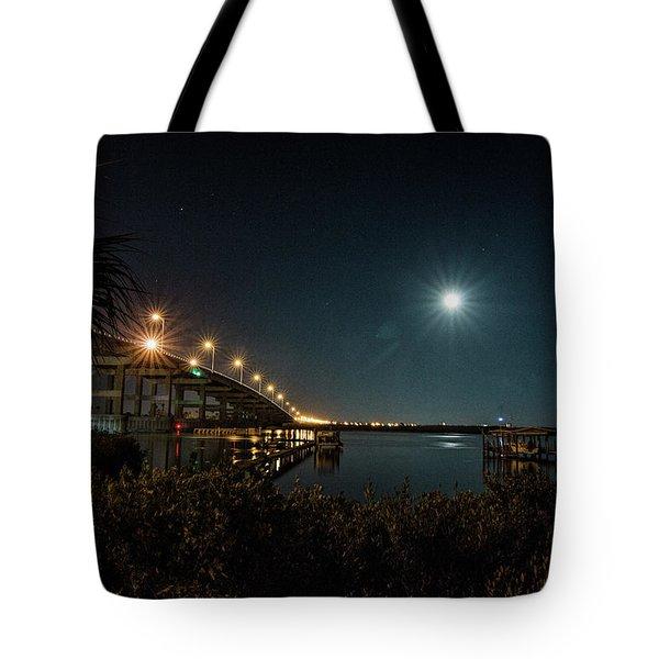 Super Moon And Bridge Lights Tote Bag