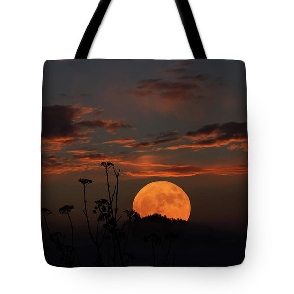 Super Moon And Silhouettes Tote Bag