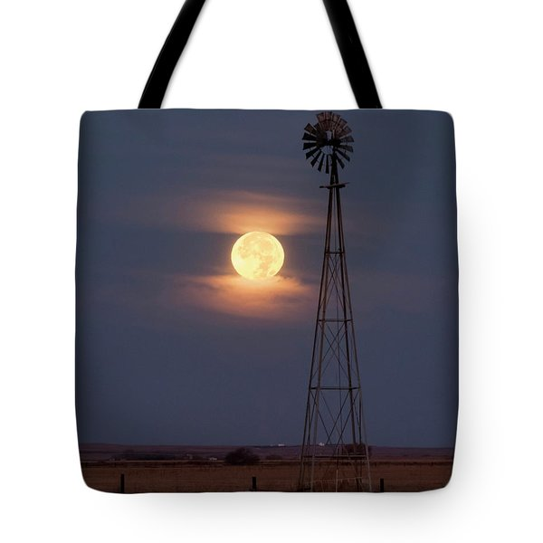 Super Moon And Windmill Tote Bag