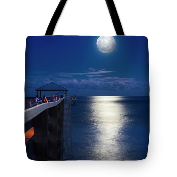 Tote Bag featuring the photograph Super Moon At Juno by Laura Fasulo
