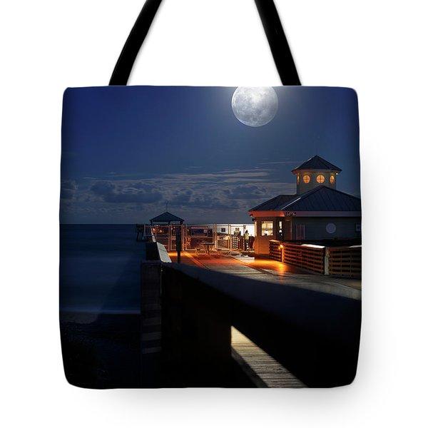 Super Moon At Juno Pier Tote Bag