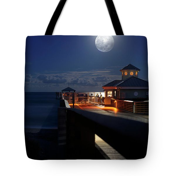 Super Moon At Juno Pier Tote Bag