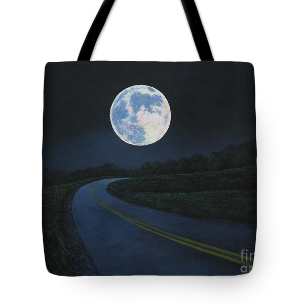 Super Moon At The End Of The Road Tote Bag