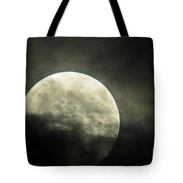 Super Moon In Clouds Tote Bag
