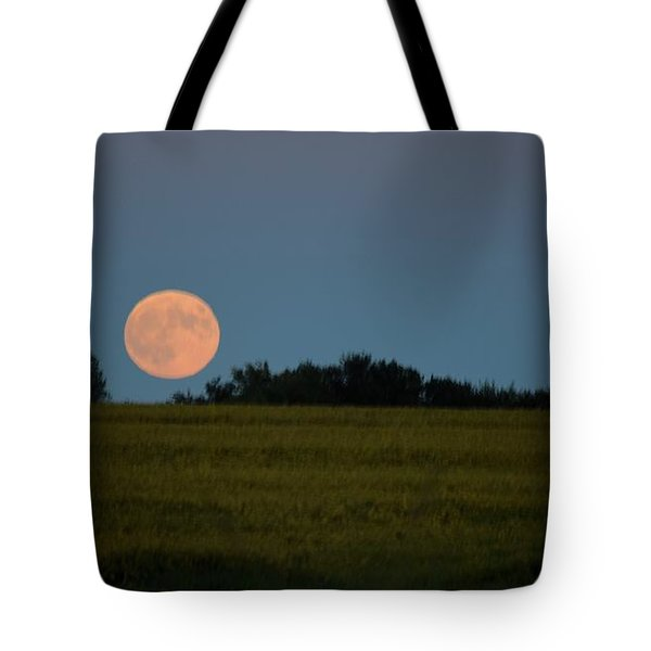 Super Moon Over A Bean Field Tote Bag