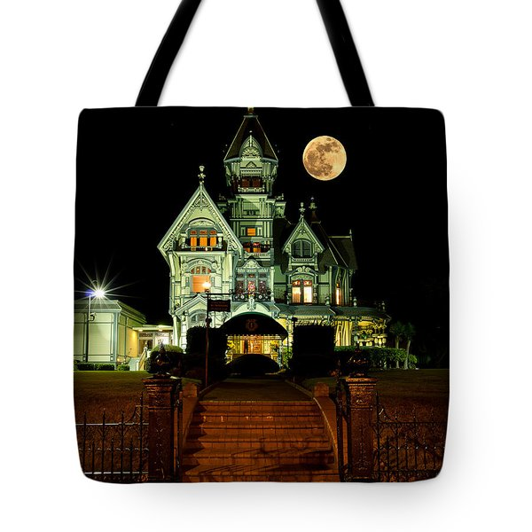 Super Moon Over Carson Mansion Tote Bag