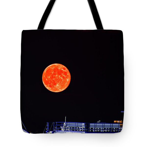 Tote Bag featuring the photograph Super Moon Over Crazy Sister Marina by Bill Barber
