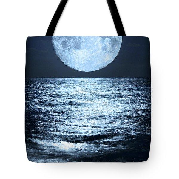 Super Moon Over Ocean Tote Bag