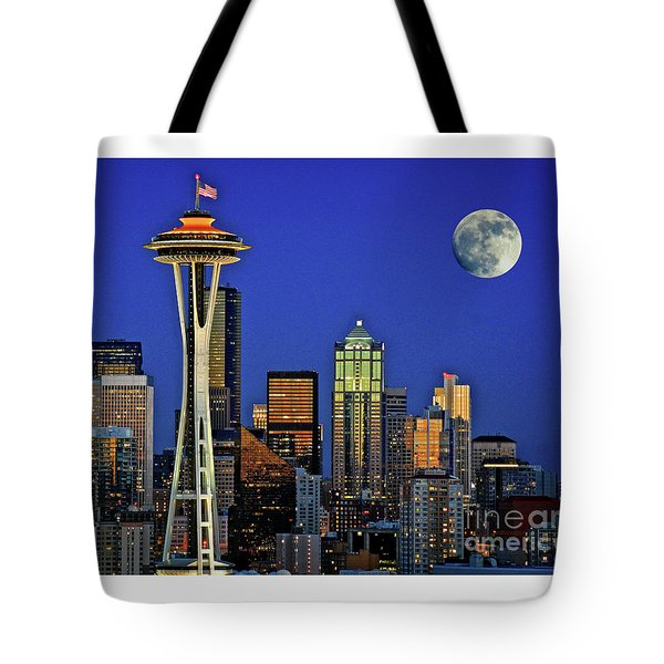 Super Moon Over Seattle Tote Bag