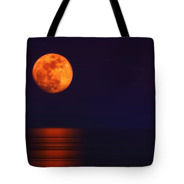 Super Moon Rising Over Water Tote Bag by Charline Xia