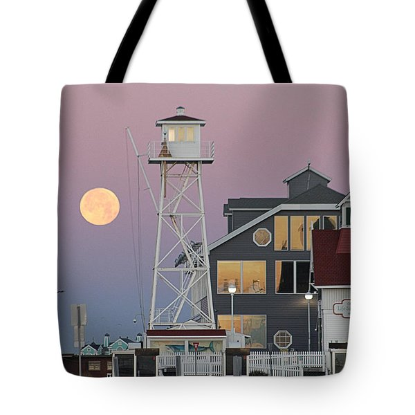 Super Wolf Moon At The Watch Tower Tote Bag