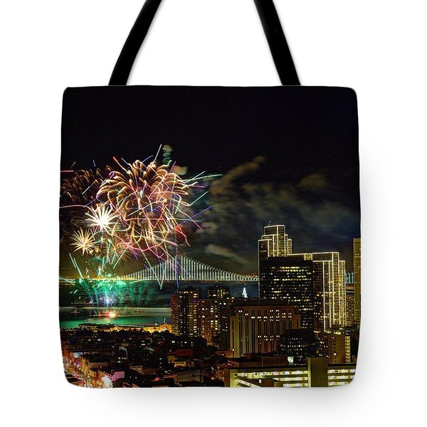 Superbowl 50 Fireworks From Atop Russian Hill Tote Bag