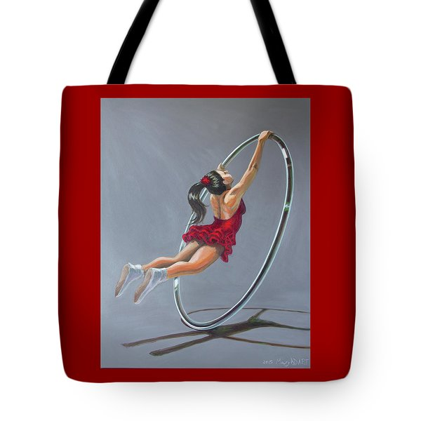 Supergirl On Cyr Wheel  Tote Bag