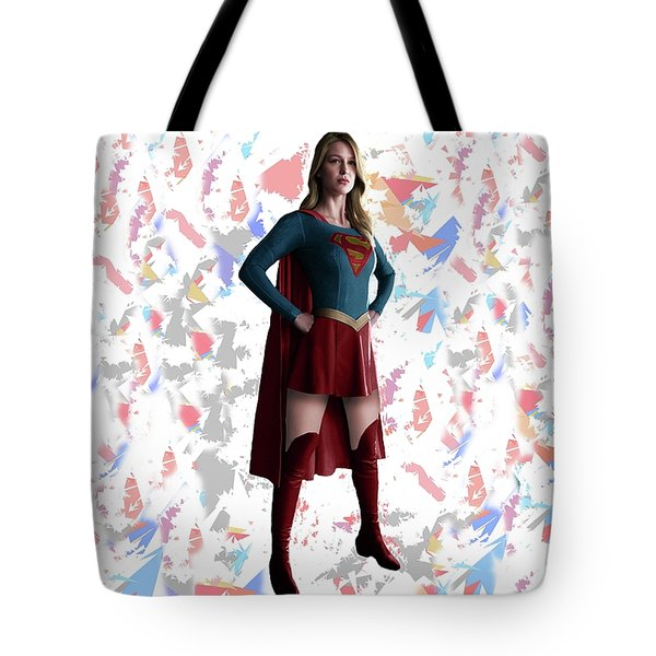 Tote Bag featuring the mixed media Supergirl Splash Super Hero Series by Movie Poster Prints