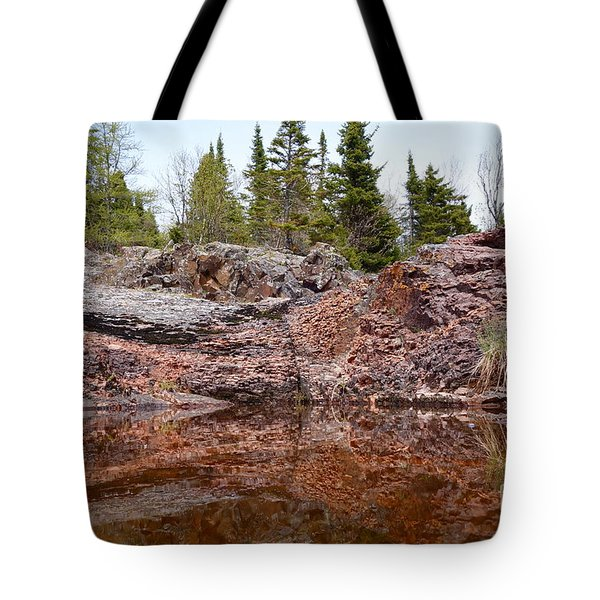 Tote Bag featuring the photograph Superior Rock Reflections #2 by Sandra Updyke