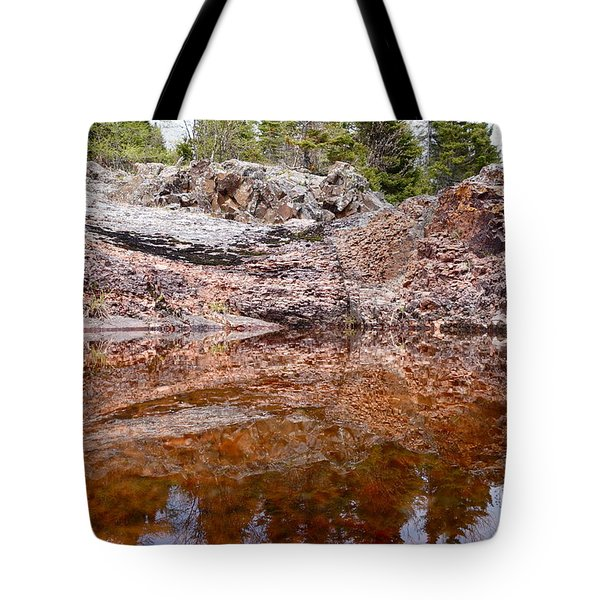 Tote Bag featuring the photograph Superior Rock Reflections by Sandra Updyke