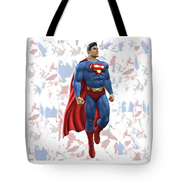 Tote Bag featuring the mixed media Superman Splash Super Hero Series by Movie Poster Prints