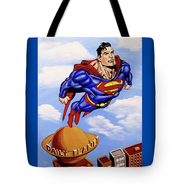 Tote Bag featuring the painting Superman by Teresa Wing