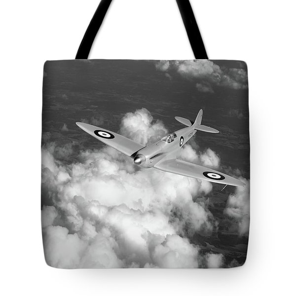 Tote Bag featuring the photograph Supermarine Spitfire Prototype K5054 Black And White Version by Gary Eason
