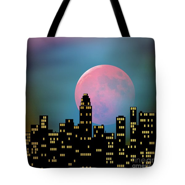 Tote Bag featuring the digital art Supermoon Over The City by Klara Acel