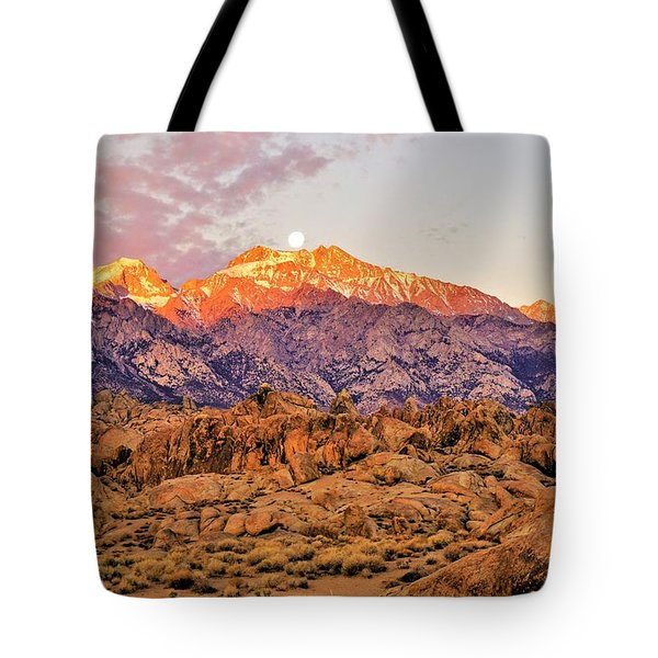 Supermoon Setting At Sunrise Over Mount Williamson In The Sierra Nevada Mountains Tote Bag