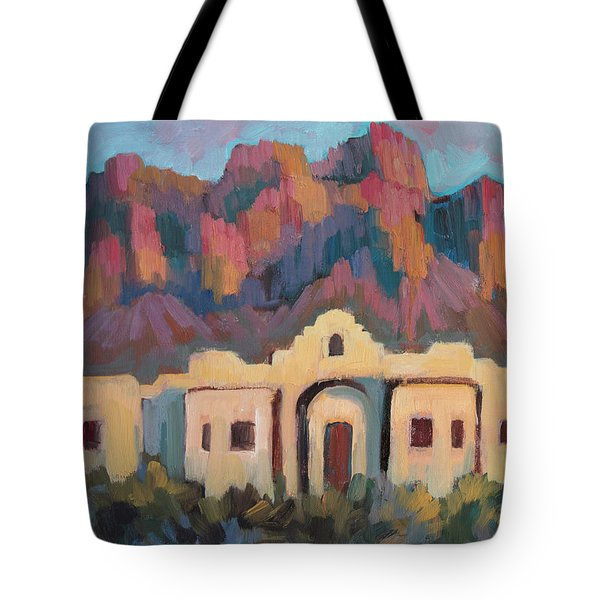 Tote Bag featuring the painting Superstition Mountain Evening by Diane McClary