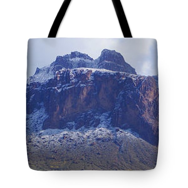 Superstition Mountain Snowfall Tote Bag