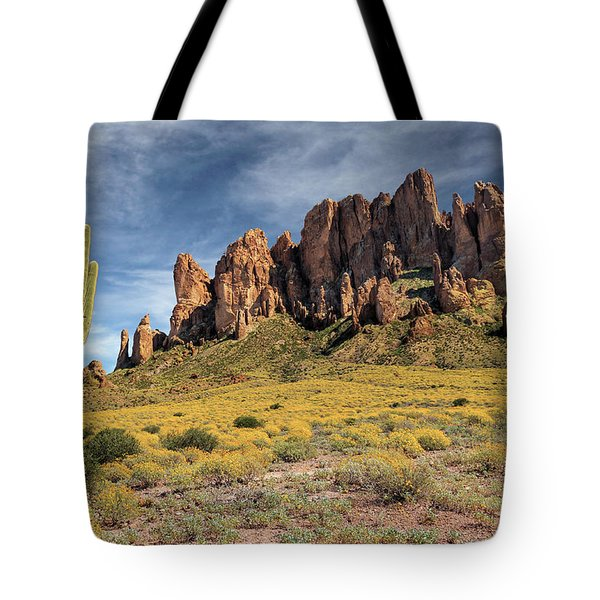 Tote Bag featuring the photograph Superstition Mountains Saguaro by James Eddy