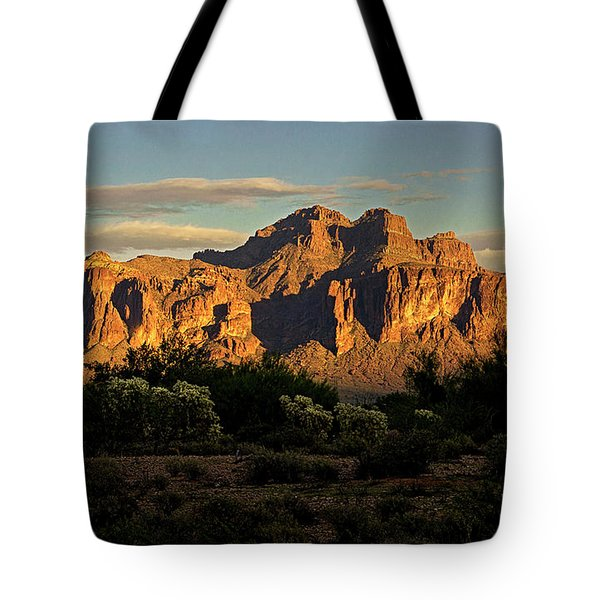 Superstitions At Sunset  Tote Bag