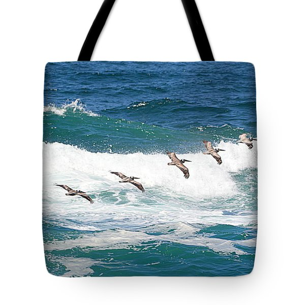 Surf And Pelicans Tote Bag