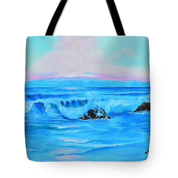 Surf At Sunset  Tote Bag