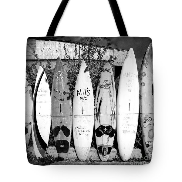 Tote Bag featuring the photograph Surf Board Fence Maui Hawaii Square Format by Edward Fielding