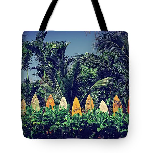 Tote Bag featuring the photograph Surf Board Fence Maui Hawaii Vintage by Edward Fielding