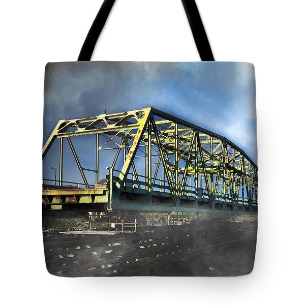 Surf City Nc Swing Bridge Tote Bag by Betsy Knapp