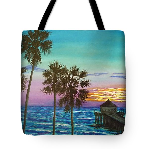 Surf City Sunset Tote Bag
