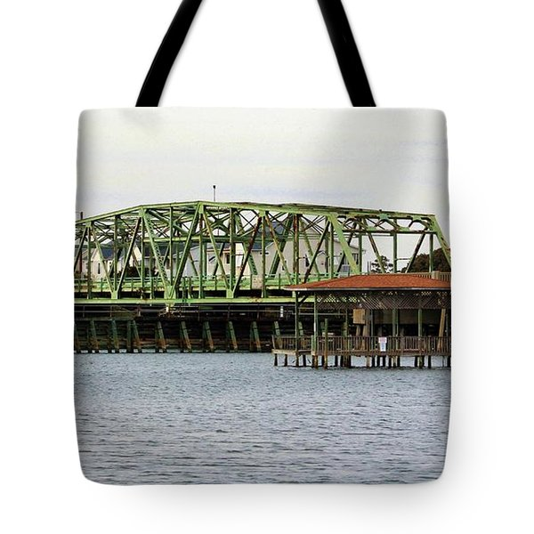 Surf City Swing Bridge Tote Bag by Cynthia Guinn