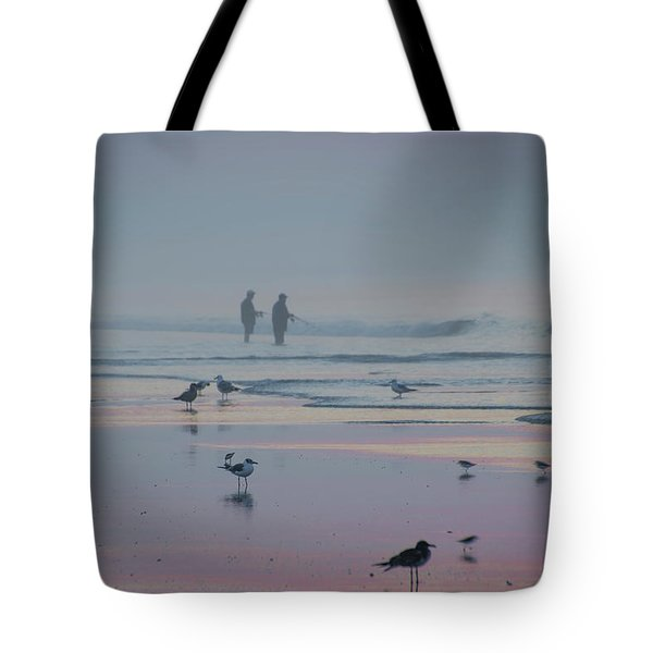 Tote Bag featuring the photograph Surf Fishing In Wildwood by Bill Cannon