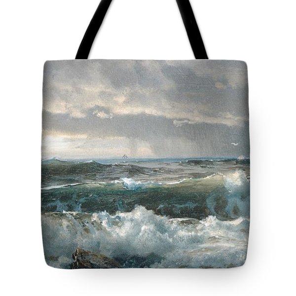 Surf On The Rocks Tote Bag